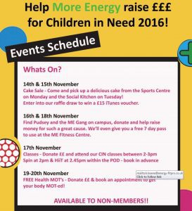 Children in Need schedule 2016